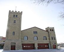 Primary elevation, from the north, of St. Boniface Fire Hall No. 1, Winnipeg, 2007; Historic Resources Branch, Manitoba Culture, Heritage and Tourism, 2007