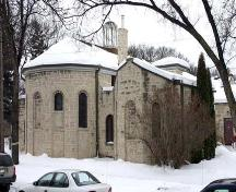 Northeast elevation of St. Michael and All Angels Anglican Church, Winnipeg, 2007; Historic Resources Branch, Manitoba Culture, Heritage and Tourism, 2007