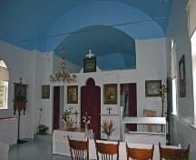 Interior view of the Ukrainian Greek Orthodox Church of the Assumption of St. Mary, Rossburn area, 2006; Historic Resources Branch, Manitoba Culture, Heritage and Tourism, 2006