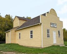 Primary elevations, from the northeast, of Rhodes Community Hall, Dauphin area, 2007; Historic Resources Branch, Manitoba Culture, Heritage, Tourism and Sport, 2007