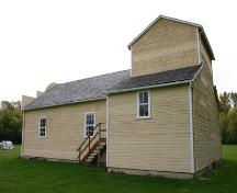 Secondary elevations, from the southeast, of Rhodes Community Hall, Dauphin area, 2007; Historic Resources Branch, Manitoba Culture, Heritage, Tourism and Sport, 2007