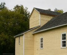 Detail of back section (holding stage and curtain) of Rhodes Community Hall, Dauphin area, 2007; Historic Resources Branch, Manitoba Culture, Heritage, Tourism and Sport, 2007