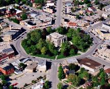 An aerial view of the Square, looking north-east, in alignment with Montreal and Hamilton Streets.; Gord Strathdee, May 12th, 2001