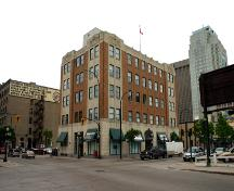 Primary elevations, from the southwest, of the Greater Winnipeg Gas Company Building, Winnipeg, 2006; Historic Resources Branch, Manitoba Culture, Heritage, Tourism and Sport, 2006