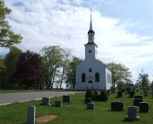 Front elevation, St. John's Anglican Church and Cemetery, Port Williams, Nova Scotia, 2007. ; Heritage Division, NS Dept. of Tourism, Culture and Heritage, 2007.