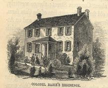 A sketch drawn by Benson Lossings in 1830, depicting the François Baby House during the War of 1812.; Benson Lossings, Pictoral Field Book of the War of 1812, from Windsor's Community Museum.