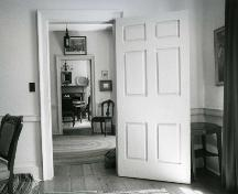View from the living room through the hall to the dining room – 1980; OHT, 1980