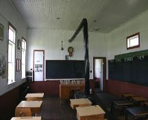Interior view of a classroom at the Horod School, near Little Saskatchewan River Valley, 2005; Historic Resources Branch, Manitoba Culture, Heritage, Tourism and Sport, 2005