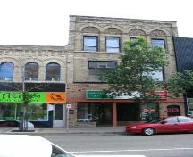 Primary elevation, from the north, of the Burchill and Howey Block, Brandon, 2005; Historic Resources Branch, Manitoba Culture, Heritage, Tourism and Sport, 2005