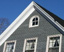 Showing gable detail with round arch window; Province of PEI, 2007