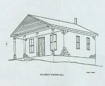Illustration of the south and east elevations of 4805 William Hastings Line, circa 1985.; Robert Rowell, Wellesley Township LACAC, circa 1985.