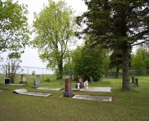 Contextual view, from the south, of the cemetery grounds at the Overstone Lutheran Cemetery section of the Fredensthal Lutheran Cemeteries, Emerson area, 2007; Historic Resources Branch, Manitoba Culture, Heritage, Tourism and Sport, 2007