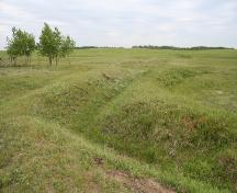 Contextual view, from the east, of one of the trench complexes at the Camp Hughes Military Training Site, Carberry area, 2006; Historic Resources Branch, Manitoba Culture, Heritage, Tourism and Sport, 2006