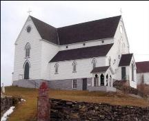Exterior photo of south and west facades of St. George's Church in Brigus, NL.; Heritage Foundation of Newfoundland and Labrador, 2004