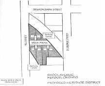 Plan of Brock Avenue HCD indicating location of six protected houses, 1996.; Township of Centre Wellington, 1996.