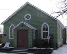 The chapel was moved by log rollers to its present Peer Street location in 1890.; City of Niagara Falls