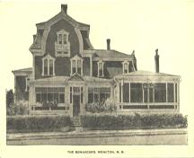 "From the 1920's until the mid 1970's, the William S. Torrie House was used as a hotel and boarding establishment under the name ""Bonaccord Hotel"". This postcard is c. 1920's.; Moncton Museum"