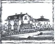 An artist's rendition of the William S. Torrie House found on a border panel of a drawn 1881 map of Moncton.; Moncton Museum 2004
