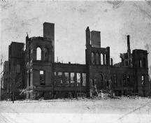 In the early morning hours of February 3, 1915, a few teetering walls and chimneys were all that remained of the school. The blaze was reported to have been visible from the neighbouring town of Dorchester.; Moncton Museum