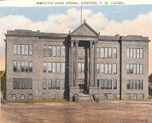 This postcard view of Aberdeen School, dated c1930, shows the Greek Revival elements of the façade of the new school rebuilt in 1916.; Moncton Museum
