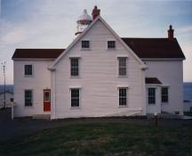 View of the front façade of the Double Dwelling, 1988.; Canadian Coast Guard / Garde côtière canadienne, 1988.