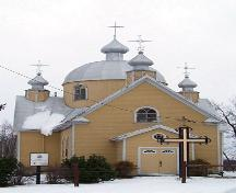 Primary elevation, from the west, of St. John the Baptist Ukrainian Catholic Church, Menzie area, 2005; Historic Resources Branch, Manitoba Culture, Heritage, Tourism and Sport, 2005