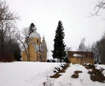 Contextual view, from the east, of St. John the Baptist Ukrainian Catholic Church, Menzie area, 2005; Historic Resources Branch, Manitoba Culture, Heritage and Tourism, 2005
