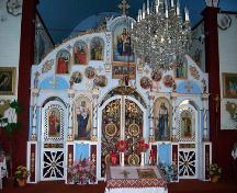 Interior view, of the iconostas, of St. John the Baptist Ukrainian Catholic Church, Menzie area, 2005; Historic Resources Branch, Manitoba Culture, Heritage, Tourism and Sport, 2005