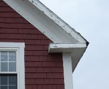 This photograph shows the large eave return, 2007.; Town of St. Andrews