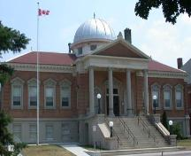West facing facade featuring the dome above the portico, 2007.; Department of Planning, City of Brantford, circa 2004.