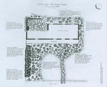 A depiction of the Plan of Janet McCrae's Garden.; Brad Peterson, Environmental Management and Landscape Architecture, 1999.