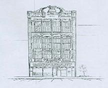 "Illustration of the façade of the Petrie Building located at 15 Wyndham Street North.; Statement of Reasons for Designation, ""The Petrie Building"", date unknown."