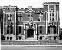 The Niagara Falls Armoury decorated for a Royal visit in 1939; Francis J. Petrie Collection, Niagara Falls Public Library, 1939