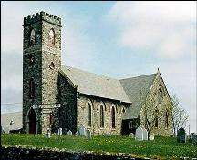 View of front and right facade, St. Paul's Anglican Church, Harbour Grace.; HFNL 2005