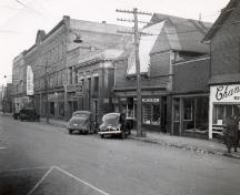 Showing streetscape, c. 1947; Wyatt Heritage Properties Archive Image