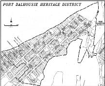 Map showing boundaries of Port Dalhousie Heritage Conservation District; City of St. Catherines