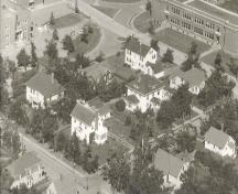 Aerial view of house in 1958; Wyatt Heritage Properties, Acc. 013.21