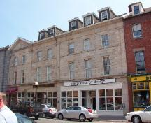 Exterior photo, front facade, O'Dwyer Block, Water Street, St. John's, Newfoundland, July 14, 2004.; HFNL 2005