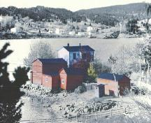 Exterior photo of the Trahey Property, Conception Harbour showing carriage house, twine loft, outhouse, barn, cellar, workshop, house.; Heritage Foundation of Newfoundland and Labrador 2005