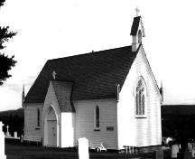 Exterior photo, main entrance, Alexander Chapel of All Souls (Mortuary Chapel), Bonavista, Newfoundland.; HFNL 2005