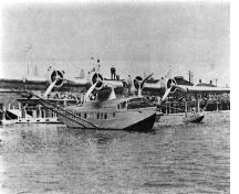 A historic image showing the use of the port by seaplanes; Acadian Research Centre - P227-A139