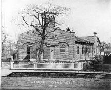 Christ Church showing picket fence, and graveyard in behind 1895; Archives of Ontario Acc. No. 2537