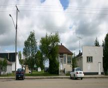Contextual view, from the west, of the Angusville Municipal Building (in the centre of the photograph), Angusville, 2006; Historic Resources Branch, Manitoba Culture, Heritage, Tourism and Sport, 2006