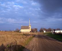 Contextual view, from the west, of Ninga Presbyterian Church, Ninga, 2006; Historic Resources Branch, Manitoba Culture, Heritage, Tourism and Sport, 2006