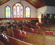 Interior view of Treherne United Church, Treherne, 2006; Historic Resources Branch, Manitoba Culture, Heritage, Tourism and Sport, 2006