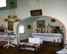 View to the altar of St. Michael's Ukrainian Catholic Church, Dauphin area, 2005; Historic Resources Branch, Manitoba Culture, Heritage, Tourism and Sport, 2005