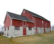 Primary elevation, from the southwest, of the Anderson Barn, Forrest area, 2005; Historic Resources Branch, Manitoba Culture, Heritage, Tourism and Sport, 2005