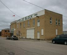 South and east elevations, from the southeast, of the Smellie Bros. and Co. Store, Russell, 2004; Historic Resources Branch, Manitoba Culture, Heritage, Tourism and Sport, 2005