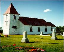 Exterior photo, Ruby Church (St. Matthew's Church), Goulds, St. John's.; Heritage Foundation of Newfoundland and Labrador, 2004.