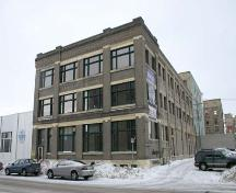 Primary elevations, from the south, of the Scott Fruit Company Warehouse, Winnipeg, 2005; Historic Resources Branch, Manitoba Culture, Heritage, Tourism and Sport, 2005